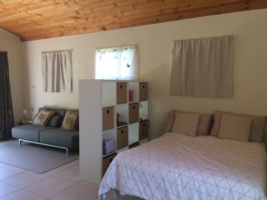 Double bed and sofa bed which converts into one or two singles or one double bed.  Plenty of warm blankets provided for cool winter nights.