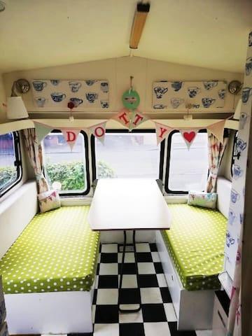 Hill Farm-Sited Caravan, Retro Dotty- Dog friendly