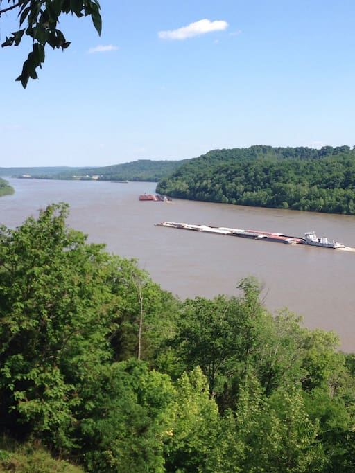 Miles of barge traffic makes relaxing river watching.