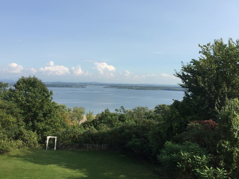 The view from our porch in Port Henry of Lake Champlain.