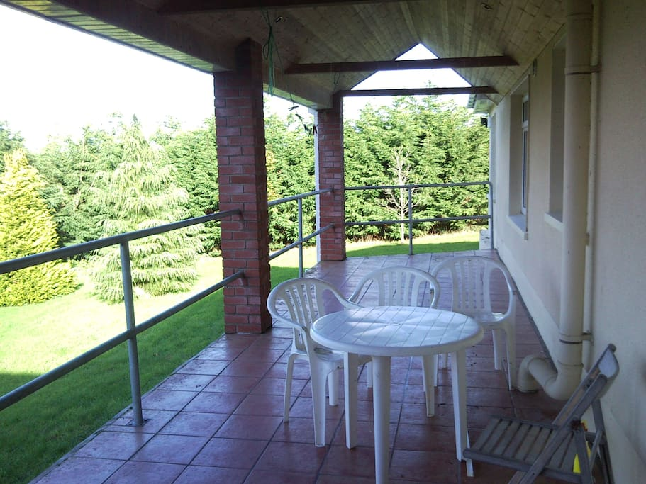Covered patio with views over Clare Hills and magnificent sunsets