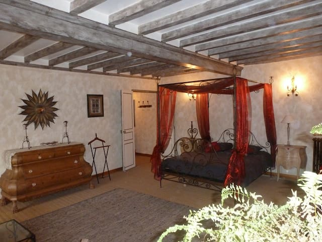 Large double ensuite bedroom in a 16th cent manor