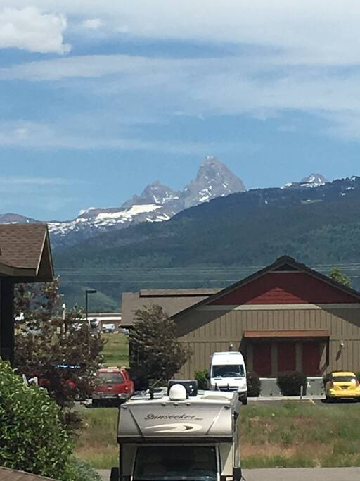 View of Tetons from main balcony
