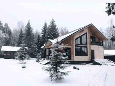 Уютный светлый дом в окружении леса