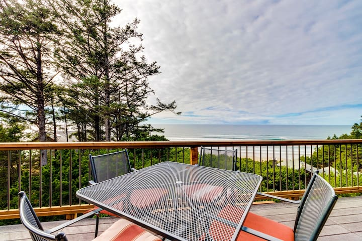 Charming home w/ hot tub, decks & stellar ocean view - walk to beach (MCA #1377)