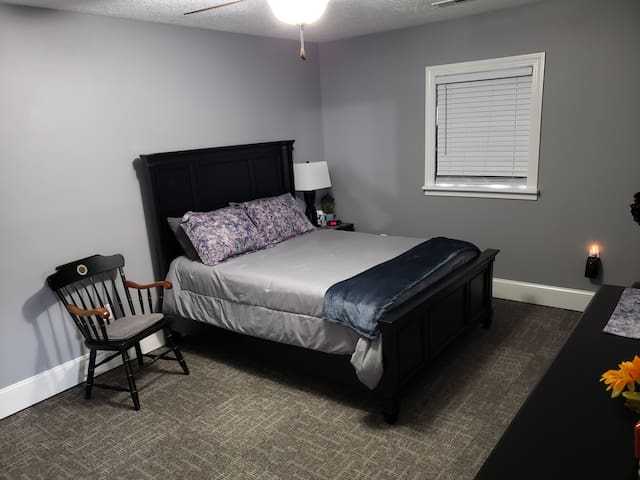 Clean and comfortable bedrooms with queen beds.  Blackout curtains available/stored in the closet, if needed.