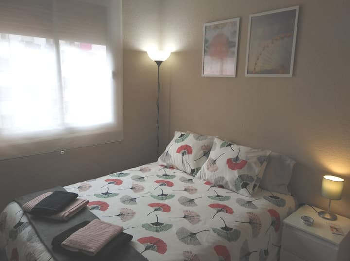 Large room, with double bed.