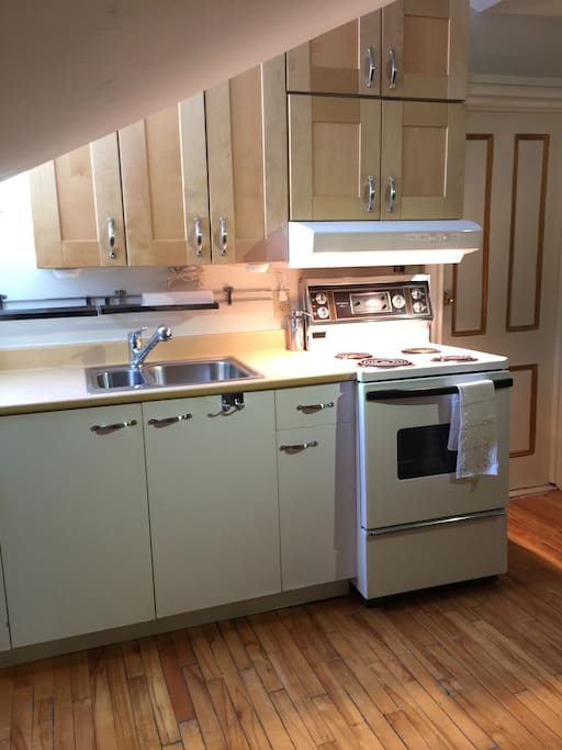 Fully equipped kitchen with maple cabinets double sinks and apartment size stove. There are also some cooking supplies available for your use as well as coffee and tea. Breakfast supplies are located in the fridge in the kitchen.