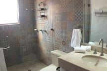 Master bedroom bathroom. One of a kind tile work.
