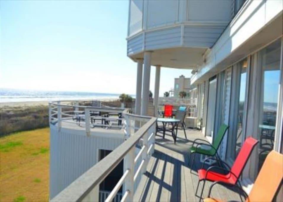 Bench, Deck, Porch, Balcony, Banister