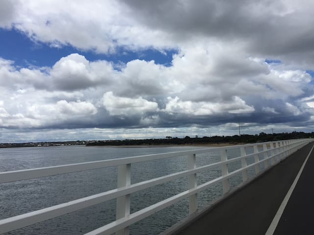 Heading to Ocean Grove across the picturesque Barwon Heads bridge