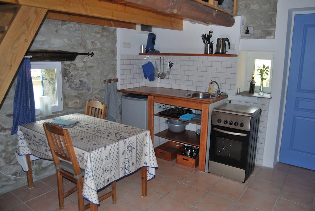 De keuken- en eethoek