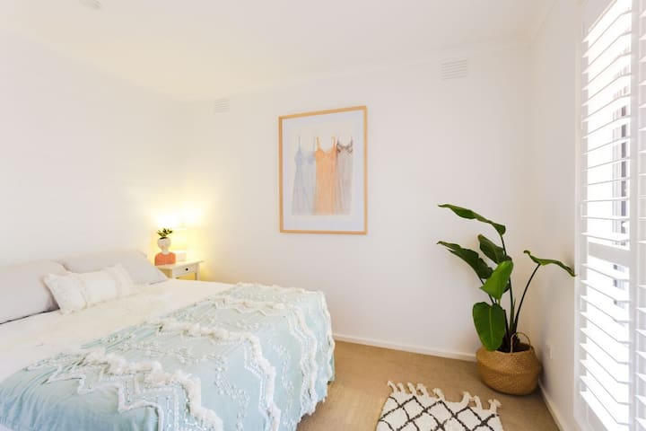 Bedroom 2:  With a different ambience for the summer months. Bright and airy or pull the shutters for a quiet dark space to snooze anytime of the day.