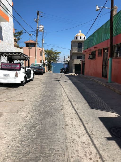 Looking down street in front to beach