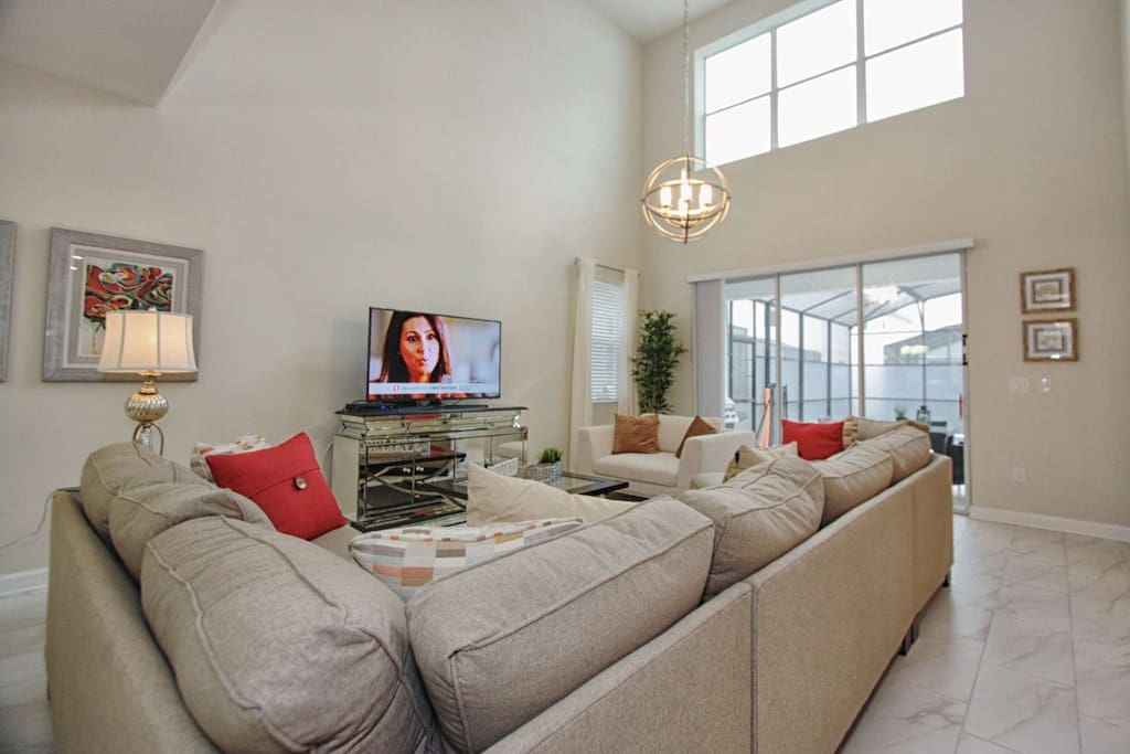 Beautiful Living Area Furniture and Accents; Pool Access