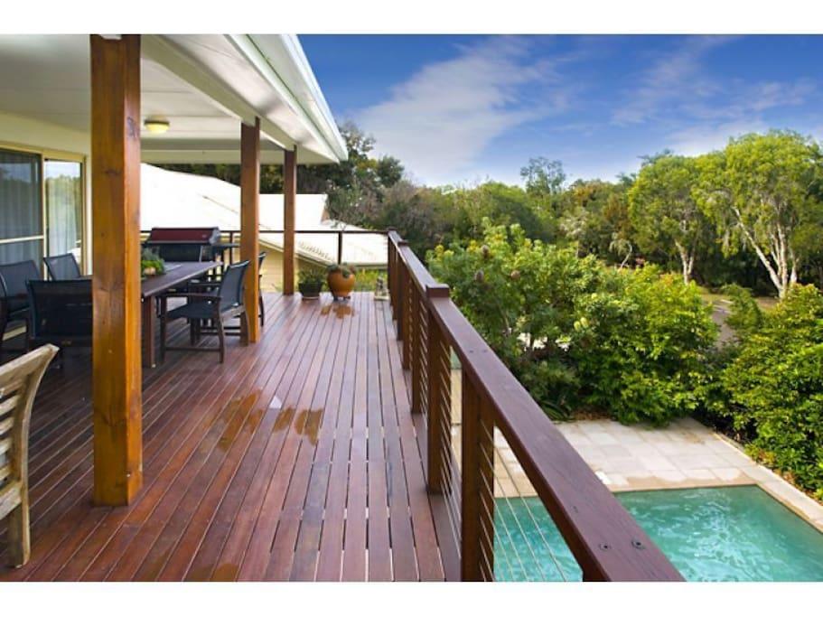 Large pool and overlooking verandah