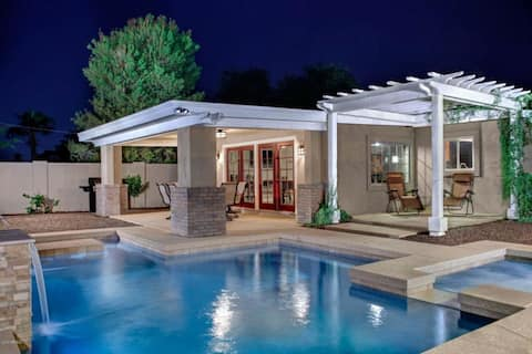 Comfortable private backyard with new pool and hot tub area.