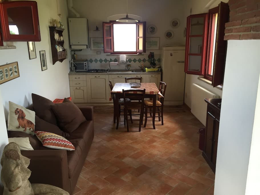 The kitchen and the dining room