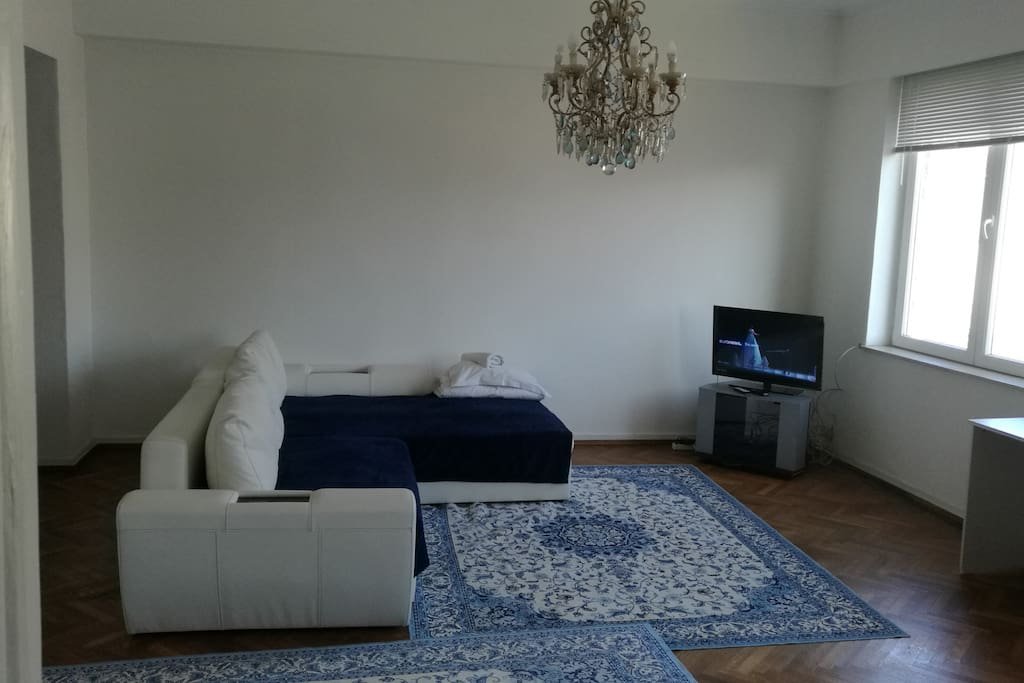 Living space with convertible sofa