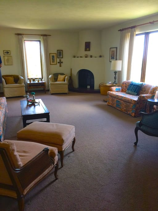 Large Living room with views of Santa Fe Baldy