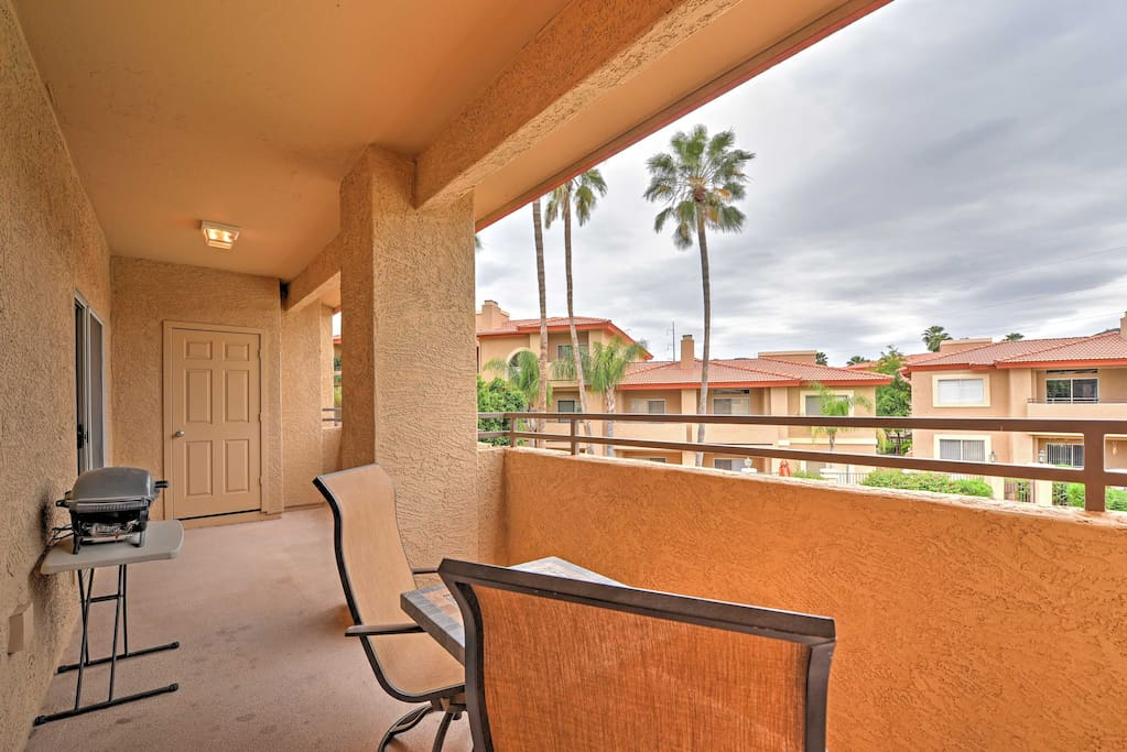 Enjoy the incredible views and warm weather all from the comfort of your covered patio with gas grill.