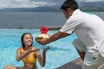 Cold and refreshing drink served while you take a plunge into the infinity pool.
