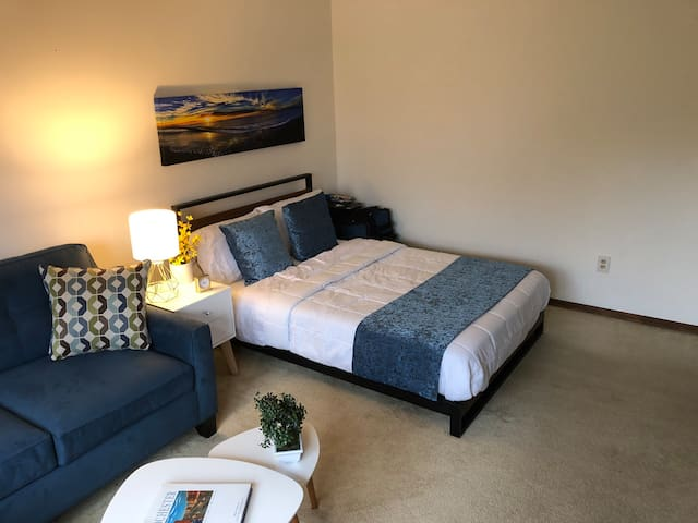 memory foam with springs mattress. Full size bed with luxury sheets and bedding. All furniture is brand new as of 2020.