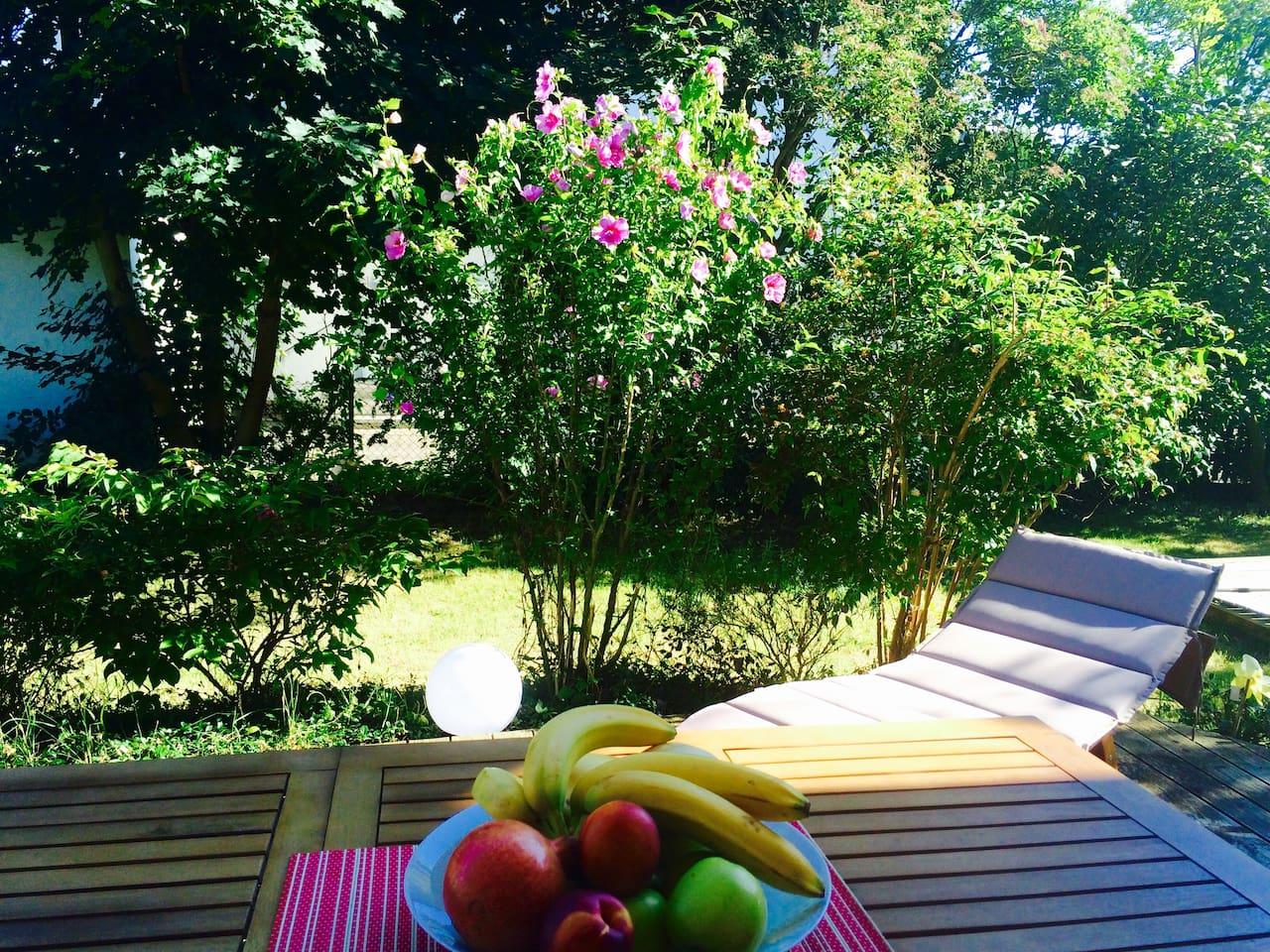 Das Outdoor-Wohnzimmer bietet gleich zwei Sitzgruppen und eine Sonnenliege. Hier lässt sich gemütlich sitzen und auch mit anderen Gästen ins Gespräch kommen. Wer Rückzugsmöglichkeiten wünscht, findet diese im großzügigen Garten zur Genüge.