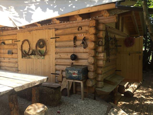 La baita di legno nel bosco fatta con i tronchi