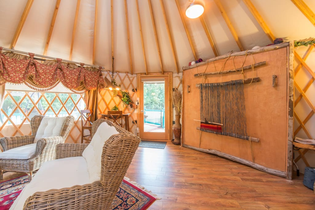 When the Murphy Beds up it makes plenty of room inside the yurt