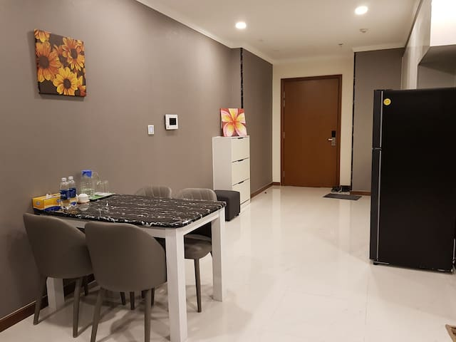 Dining area: dining table for 4 and kitchen