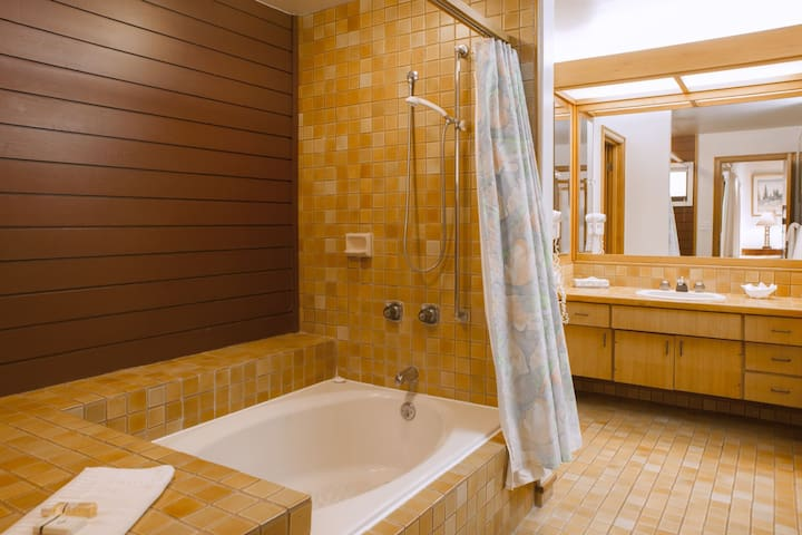 Master bathroom with large soaking tub and dual vanities