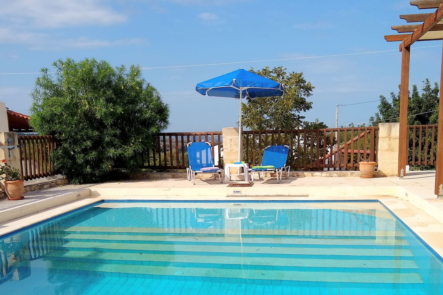 Dolphin Villa Pool. Private, for exclusive use by Dolphin Villa guests.  7mx5m, 1.6m at the deep end, with steps up to the 0.6m shallow end. Plenty of pool loungers provided.