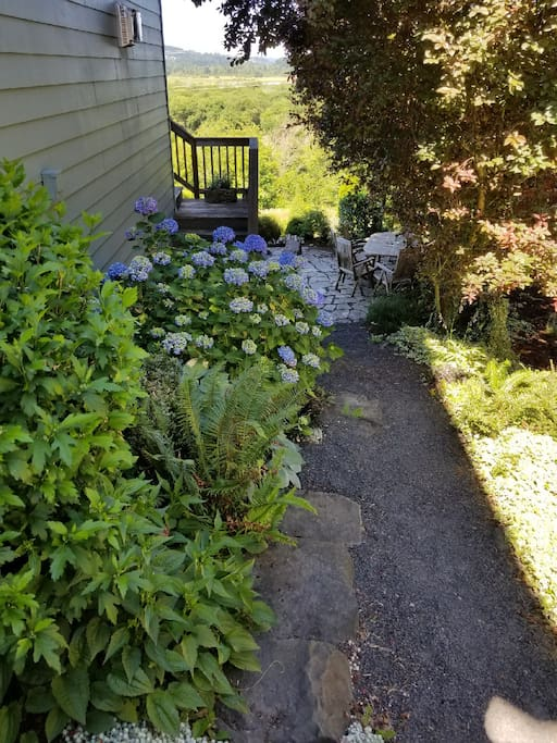 Rock path on the side of the house leading to private AirBnB entrance