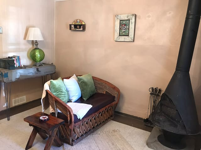 Handmade leather and wood couch in living room