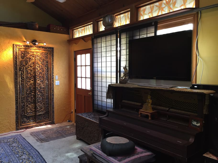 Piano tv with cable hand carved Balinese doors