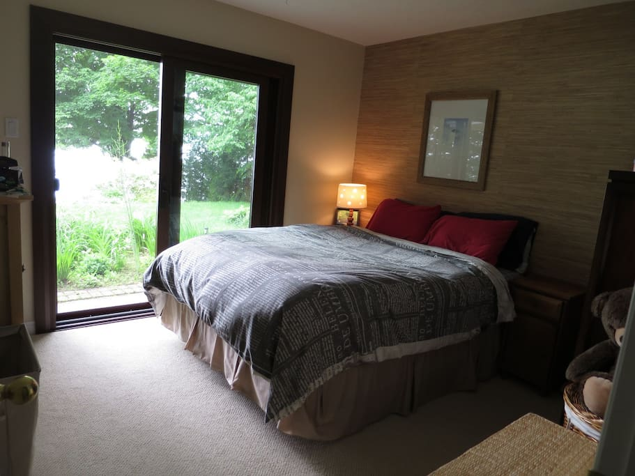 View of the bay from your queen size bed.  Private bathroom directly across hall.