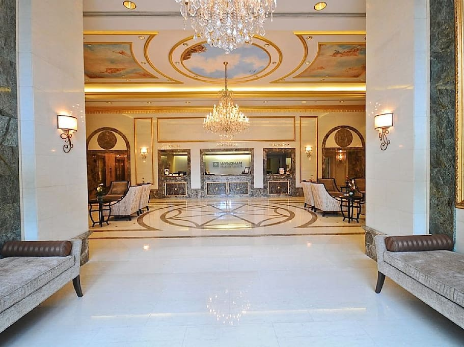 Hand cut Marble Lobby with Gold leaf Paintings on Ceiling. 5 Star