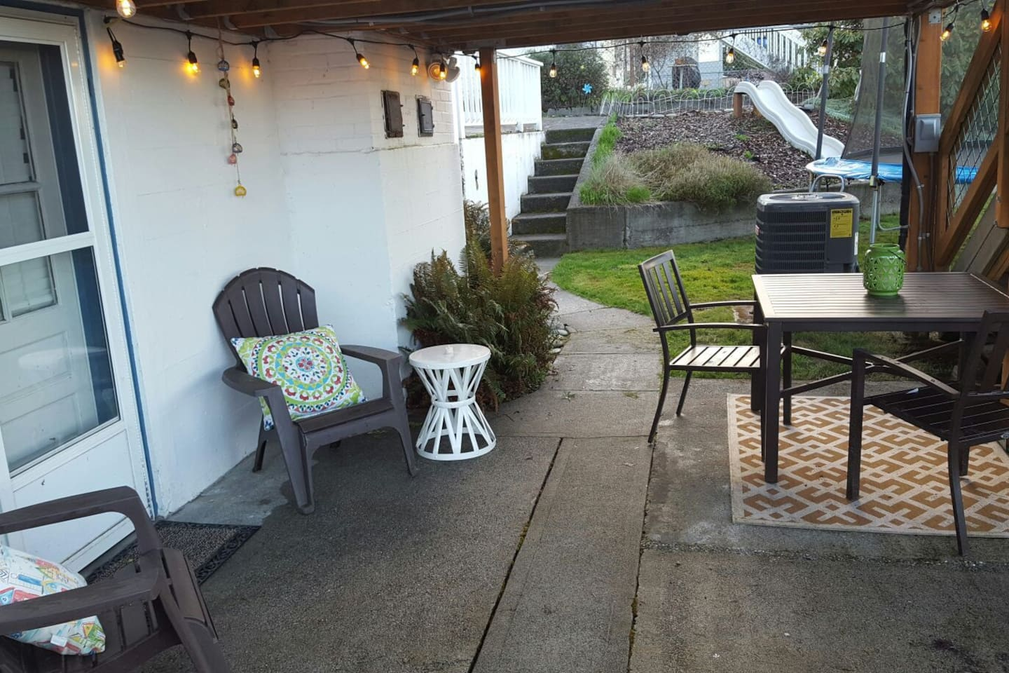 A fun daytime/evening patio space