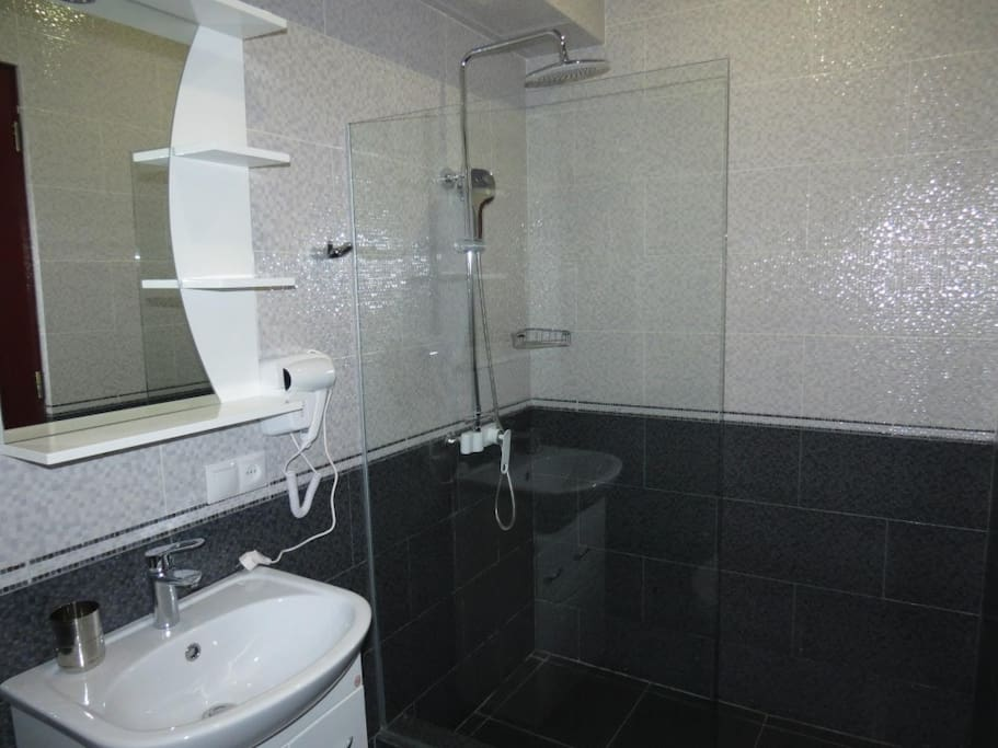 state-of-the-art bathroom with double shower head