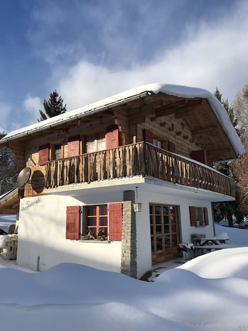Chalet from outside in winter
