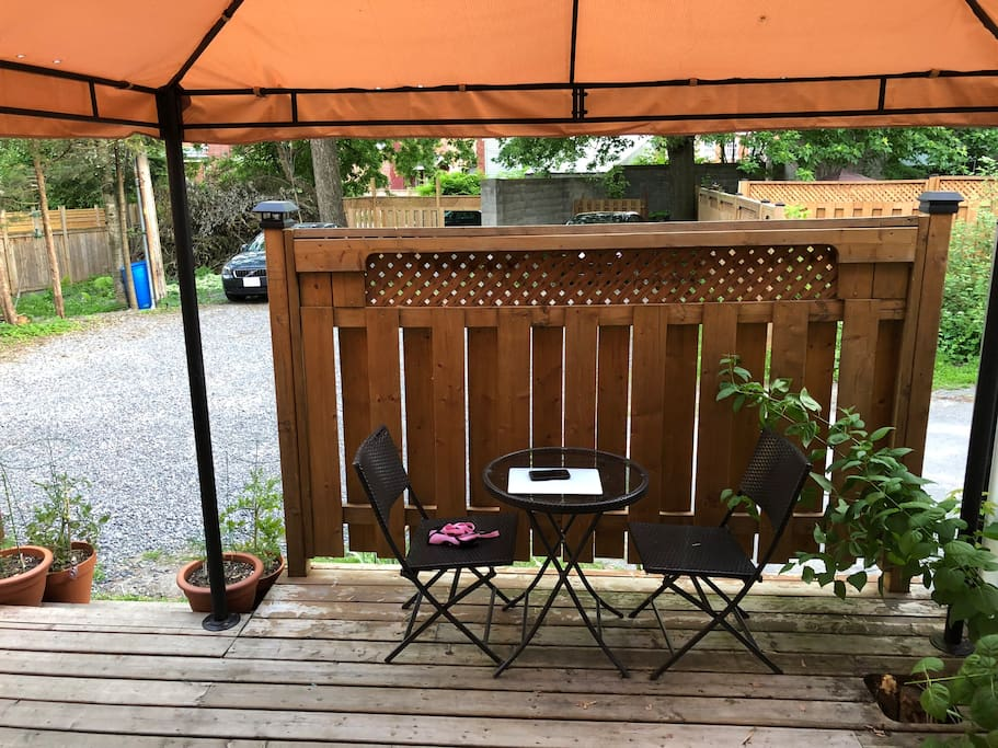 One of the covered sitting areas on back deck