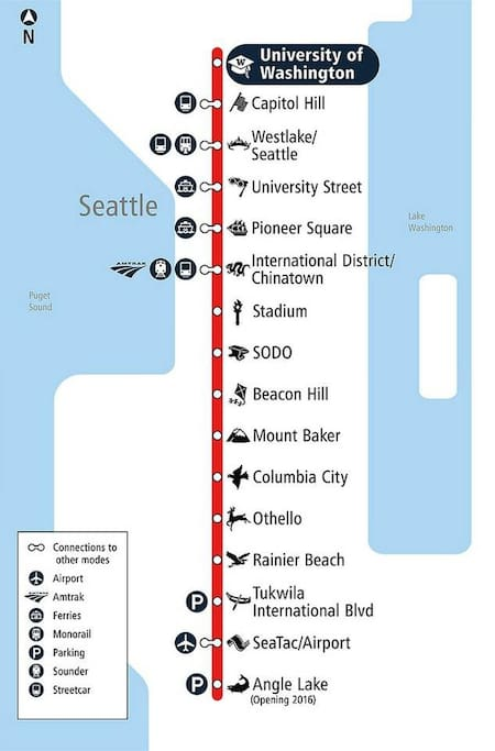From Columbia City Rail Station, ride the rail to go to downtown or airport