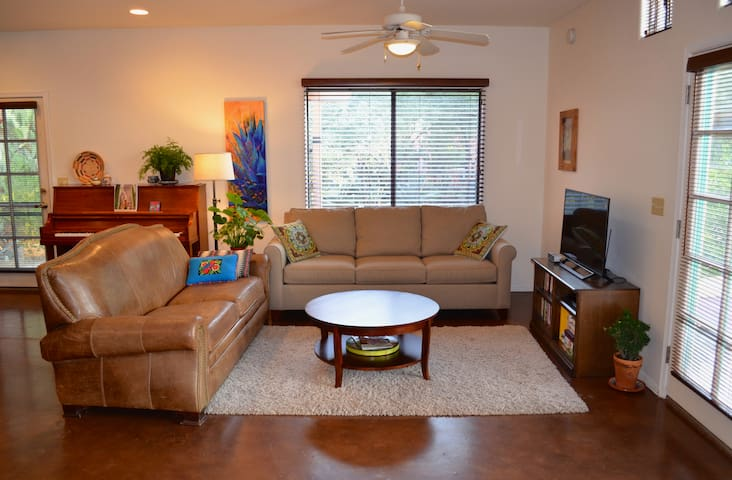 """The living room has a 40"""" TV with Netflix and a new queen sleeper sofa."""