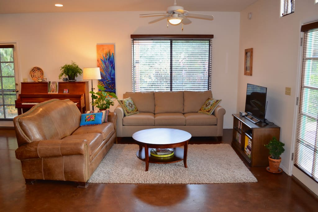 "The living room has a 40"" TV with Netflix and a new queen sleeper sofa."