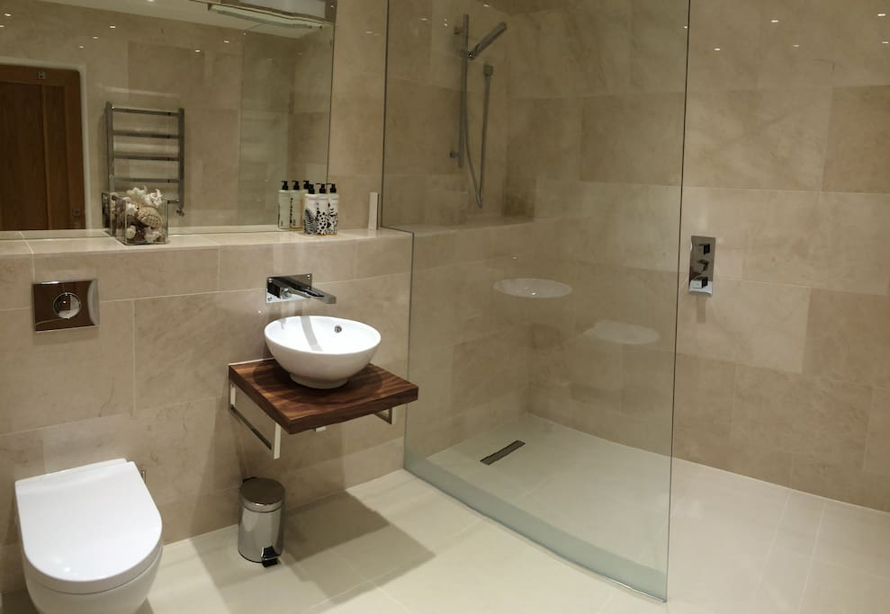 Shower room in Chalk Barn with Cowshed Toiletries