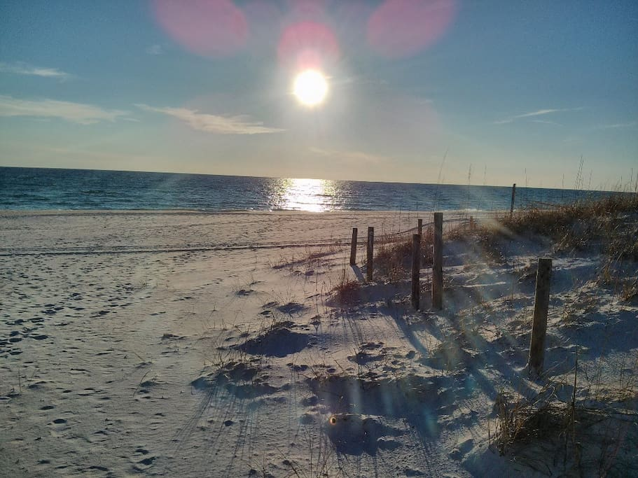 Gorgeous white sand just steps from this condo