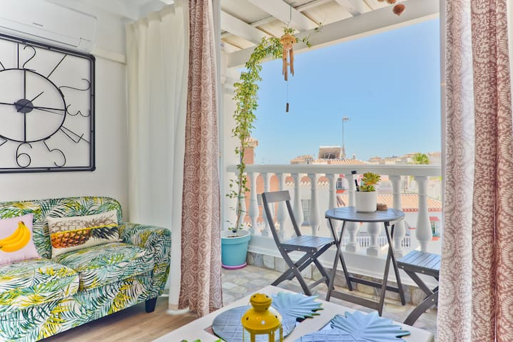 Luminous Apartment Close to Beach with Air Conditioning, Wi-Fi & Balcony; Parking Available