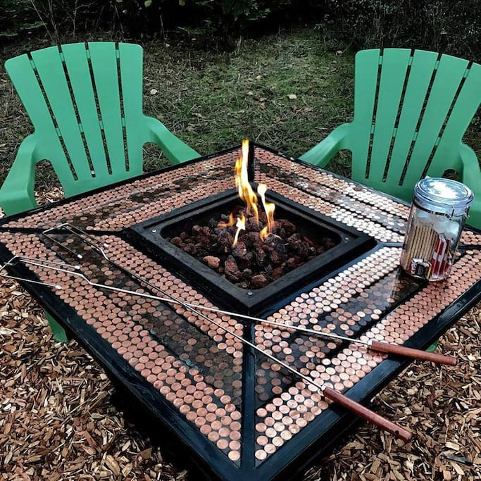 "We LOVE our new fire table!  Ask about our ""S'mores Upgrade"" which includes everything you'll need for a fun time around the fire!"