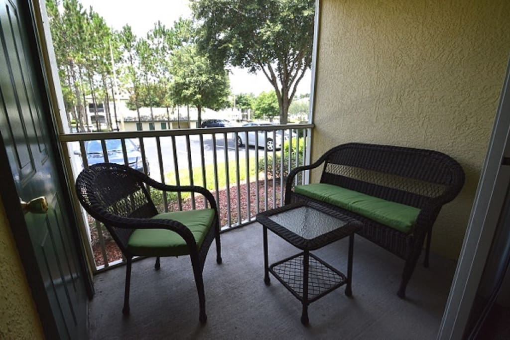 screened patio seating area